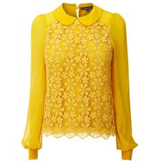Warehouse Peter Pan Lace Blouse, Yellow ($58) ❤ liked on Polyvore