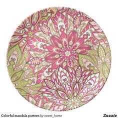 Colorful mandala pattern porcelain plate  #Home #decor #Room #Interior #decorating #Idea #Styles #Traditional #Boho #Indian #Vintage #floral #motif