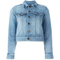 Saint Laurent Love Patch Cropped Denim Jacket ($1,990) ❤ liked on Polyvore featuring outerwear, jackets, coats, coats & jackets, kirna zabete, blue denim jacket, patch jacket, jean jacket, blue cropped jacket and patched jean jacket
