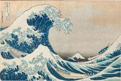 Oban yoko-e de la série «Fugaku sanjurokkei», les trente-six vues du Mont Fuji, planche «Kanagawa-oki nami-ura», la grande vague à Kanagawa. Signé Hokusai aratame Iitsu hitsu, éditeur Nishimuraya Yohachi (Eijudô). Cachet de collectionneur coupé, vers 1830-32. (Coupé, pliure médiane).