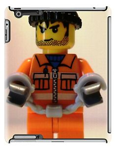 LEGO® City Convict Prisoner Minifig Minifigure with Handcuffs iPad case, by 'Customize My Minifig' by Chillee Wilson