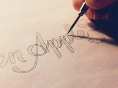 apple sketch lettering