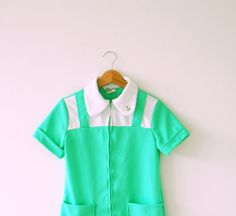 Neon Minty Green Vintage Smock
