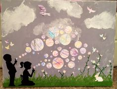 *Toddler scribble art* Use your toddlers scribbles to create a beautiful, unique art collaboration. The canvas is painted and the bunny, hummingbird, flowers, birds and bubbles are freehand cutouts using my toddlers' scribbles. Everything was then mod podged onto the painted canvas.