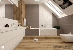 DOM W LESZNOWOLI - Duża łazienka na poddaszu w domu jednorodzinnym z oknem, styl nowoczesny - zdjęcie od design me too