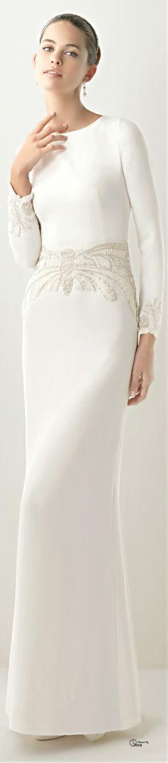 Rosa Clara very simple long sleaved and interesting waist detail wedding dress