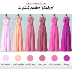 Shades of pink Pink Bridesmaid Dresses, Prom Dresses, Formal Dresses, Wedding Dresses, Pink Carnations, Pink Roses, Dusty Rose, Strapless Dress Formal, Wedding Decorations