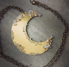 Hand Cut Cresent Moon With Crushed Moonstone by SavageByBritt