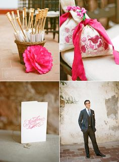 Love the stamp on the bags holding rose petals! Camp Wedding, Plan Your Wedding, Wedding Blog, Wedding Ceremony, Wedding Planner, Destination Wedding, Wedding Day, Mexican Themed Weddings, Hanging Wedding Decorations