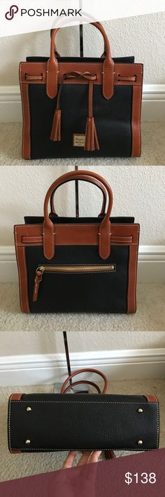 """Dooney & Bourke Pebble Leather Ariel Satchel Preown in excellent condition. On the back top leather has a lil scratch and right front bottom leather has a lil wrinkle . Other than that in amazing condition. Measures approximately 11-1/4""""W x 9-1/4""""H x 5-1/4""""D with a 5-1/4"""" handle drop; weighs approximately 1 lb, 8 oz Body/trim 100% cowhide leather; lining 100% cotton Dooney & Bourke Bags Satchels"""