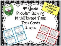 4th Grade Differentiated Task Cards - Problem Solving with Elapsed Time from Eileen Jarman on TeachersNotebook.com -  (20 pages)  - 4th Grade Differentiated Task Cards - Problem Solving with Elapsed Time - Use for Math Centers, Guided Math Groups, Test Prep Review