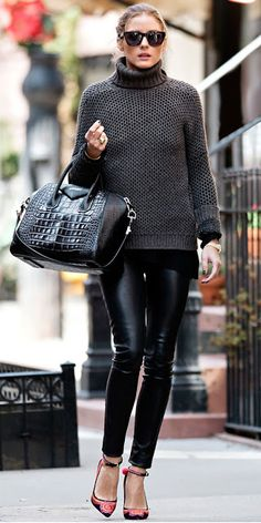 Olivia Palermo street style | Grey turtle neck sweater, leather leggings and ankle strapped heels