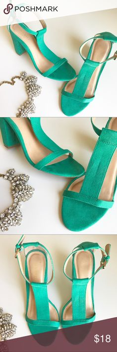 "• OLD NAVY turquoise suede t-strap heel • Adorable bright turquoise suede heels! T-strap and gold buckle accent. Worn once and has a small spot shown in picture. Other than that, these heels have no flaws! They are also very comfortable! 3.5"" heel! Size 6 Old Navy Shoes Heels"