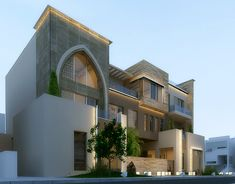 Modern villa in kuwait . Using max , vray and photoshop . Plans Architecture, Modern Architecture House, Islamic Architecture, House Front Design, Modern House Design, Villas, House Elevation, Front Elevation, Home Building Design