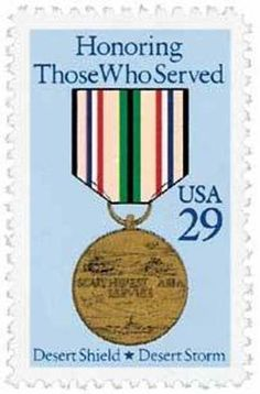 Country United States Year of Issue 1991 (July) Name Southwest Asia Service Medal Denomination Series Desert Shield + Desert Storm Color Multicolor Condition Used (Canceled) Sacrifice Quotes, Operation Desert Shield, Service Medals, Commemorative Stamps, Confederate States Of America, Military Quotes, My War, United States Army, Stamp Collecting