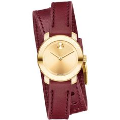 Movado Women's Swiss Bold Burgundy Leather Double Wrap Strap Watch... (7.203.620 IDR) ❤ liked on Polyvore featuring jewelry, watches, accessories, no color, double wrap watches, movado, movado watches, movado jewelry and leather wrist watch