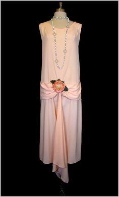 Vintage 20s PEACH Crepe Deco Drape SILK FLORAL Flapper Dress