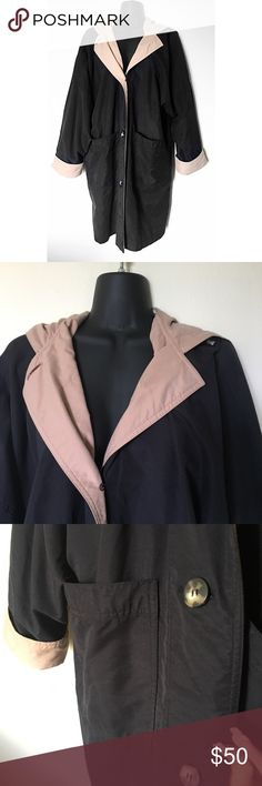LONDON FOG Small Black & Tan Trench Coat POSHMARK ITEM DETAIL * Long style * Tan / nude details on inside * Big front pockets * Plastic buttons * Zip up with 3 buttons * Attached hood  Color: Black & Tan  Size: Small Regular  Condition: Like New  Material: 100% Polyester  Measurements: LENGTH: SHOULDER TO SHOULDER:  SLEEVE LENGTH:  RELAXED WAIST:   No stains, rips, tears | Pet/Smoke free home.  London Fog Jackets & Coats Trench Coats