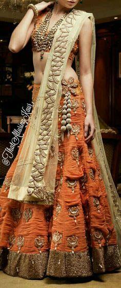 Lehenga from Karol Bagh Sari Red Lehenga, Bridal Lehenga, Lehenga Choli, Orange Saree, Sarees, Indian Bridal Fashion, Indian Bridal Wear, Choli Designs, Lehenga Designs