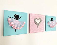 Ballerinas and Heart nursery wall art in pink and silver. Ballerina Nursery, Baby Girl Nursery Decor, Nursery Wall Art, Ballerina Birthday, Heart Canvas, Heart Wall Art, Canvas Wall Art, White Girls Rooms, Mermaid Canvas