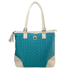Quilted Nylon Tassel Zippered Tote Bag