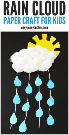 Rain Cloud - rainy day craft - spring craft- kids craft - crafts for kids -acraftylife.com - rain crafts for kids #crafts #kidscraft #craftsforkids