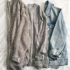 chloe knit cardi, vibes sweatshirt, distressed denim jacket #frankiephoenix #falloutfits.