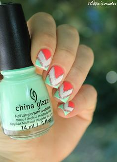 ▲▼▲ Coco's nails ▲▼▲: Géométrique estival (tuto !) | Repinned by @Claudinebhatti