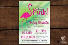 It's Time to Think Pink! - Invitations - Customizable - Printed, Baby Showers, Jungle, Flamingo, Pink, Baby Girl, Simple, Watercolor by CaffeinatedSquirrel on Etsy