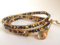 Black and golden Czech glass beaded bohemian leather triple wrap bracelet