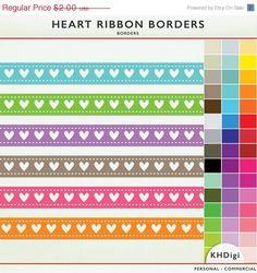 SALE Digital Borders  46 Heart Ribbons  RainbowClip Art by KHDigi