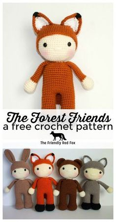 Friendly Freddy- a free crochet pattern - The Friendly Red Fox. This free crochet fox pattern is so fun for any fox lover! The finished doll is about 10 inches. Make his other friends too! They are also free crochet patterns!