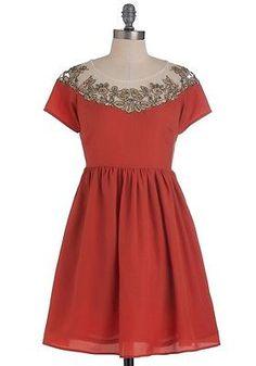 ANIINA Box Seat Beauty Dress MODCLOTH Burnt Orange Small S NWT New With Tags
