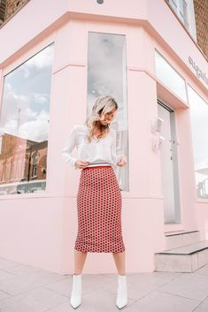 147e0cb22319b she goes wear red patterned pencil skirt workwear office white blouse white  ankle boots White Ankle