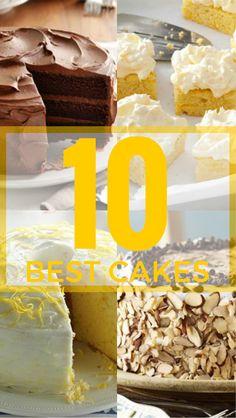 Top 10 Cake Recipes from Taste of Home | Including: Chocolate Cake, Pineapple Orange Cake, Banana Cake, Classic Carrot Cake, Buttermilk Pound Cake, Cannoli Cake and more!