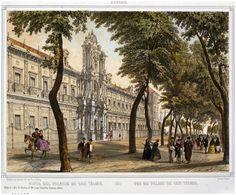 El palacio de San Telmo, siglo XIX. Andreas Pic de Leopold. Litografía- Dibujante: Alfred Guedson #Sevilla #Barroco #estampa #vistas #SanTelmo  #unmesunaestampa #FundaciónFocusAbengoa