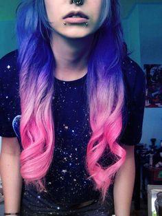 Purple to pink gradient hair hair pink hair purple hair pretty hair hair ideas beautiful hair hairstyles gradient hair Ombré Hair, Dye My Hair, Her Hair, Looks Style, Looks Cool, Galaxy Hair, Galaxy 3, Galaxy Print, Bright Hair