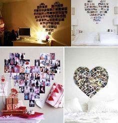 originelle Wandgestaltung Valentinstag Fotowand