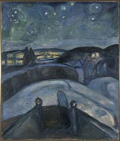 Starry night, 1922-24.  Oil on canvas.  Edvard Munch