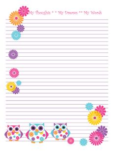 Owl Note Paper - free printable my owl barn Free Printable Stationery, Printable Paper, Filofax, Owl Crafts, Paper Crafts, Owl Classroom, Notebook Paper, Writing Paper, Planner Organization