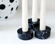 DIY Marbled Candle Holders by Fran for Design*Sponge