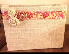 Inspiration: Cover a cardboard box with burlap & embellish.