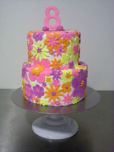 I like this for Grace's b-day cake - one large round tier and Dora figure on top? Use gumpaste flower cutouts