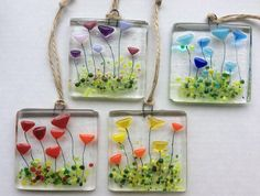 Handmade Fused Glass Spring Flowers Sun Light Catcher Hanging Gift Mother's Day Decoration, red, yellow, blue or pink - Glasfusing - Broken Glass Art, Sea Glass Art, My Glass, Stained Glass Art, Blown Glass, Glass Ball, Wine Glass, Fused Glass Ornaments, Fused Glass Jewelry