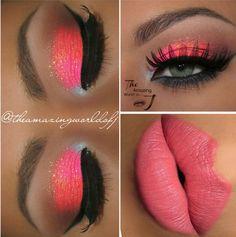 Beach sunset inspired makeup vivid pink neon pink