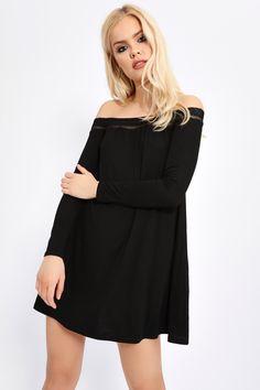 Black Bardot Long Sleeved Swing Dress