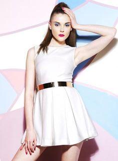 Starry Sleeveless Skater Dress White with belt,  Dress, sexy chic dress lady, Chic