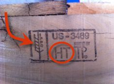 Wood pallet stamp heat treated certified.   If they aren't heat treated they may be dangerous to use or handle.