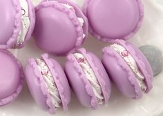 34mm Fake Purple Macaron Decorations or Charms - for making fake food crafts - 3 pc set by delishbeads on Etsy https://www.etsy.com/listing/91036384/34mm-fake-purple-macaron-decorations-or