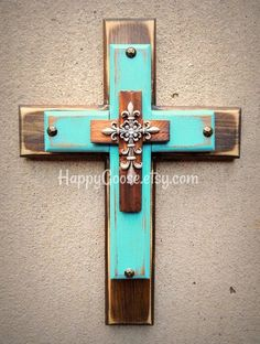 Wall Cross - Wood Cross - X-Small - Rustic Stain and Turquoise with Silver top cross. Makes a prefect gift too! (silver cross may vary depending on what is in stock) * measures 14 x 10 * light protective clear coat * comes ready to hang ~~~~~~~~~~Please Mosaic Crosses, Wooden Crosses, Wooden Stars, Wall Crosses, Turquoise Wall Decor, Turquoise Walls, Rustic Cross, Rustic Wood, Cross Flag